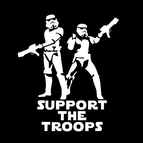 "DECAL SERPENT Support The Troops Stormtroopers Star Wars Inspired 6"" Vinyl Car Decal (6"" WHITE)"