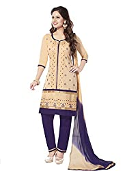 Salwar House Beige & Purple Unstitched Cotton Embroidery Dress Material with Dupatta