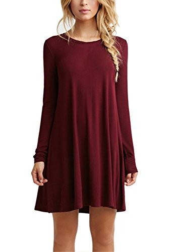 Women's Plain Cute Simple Tshirt Dress (M, Burgundy)