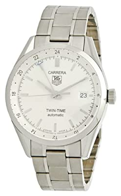 TAG Heuer Men's WV2116.BA0787 Carrera Calibre 7 Twin Time Automatic White Dial Steel Bracelet Watch by TAG Heuer