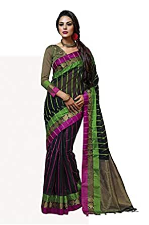 ISHIN Cotton Black Solid Saree available at Amazon for Rs.3999