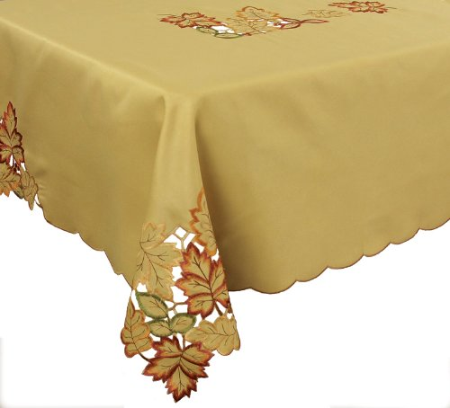 Xia Home Fashions Bountiful Leaf Embroidered Cutwork Tablecloth, 72 By 120-Inch front-592749