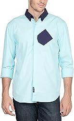 Suchos Men's Cotton Button Front Shirt (Navy Blue, L)