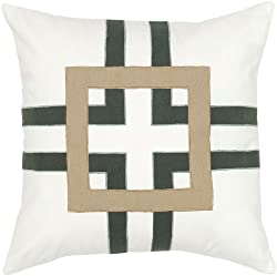 Rizzy Home T05654 Applique and Embroidery Decorative Pillow 18 by 18-Inch White