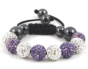 08-Ball Children Kids Girls Boys Petites Teen White Purple Lotus Bead Shamballa Bracelet on Black String