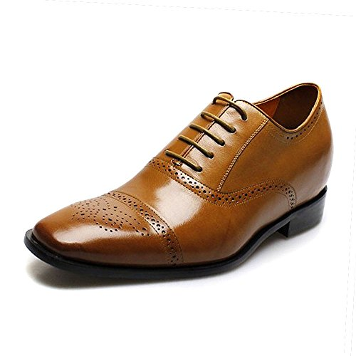 CHAMARIPA Men Elevator Leather Oxford Wingtip Dress Shoes Height Increasing Shoes 2.76 Inch Taller K6531 US 11.5 (Height Lifters For Men compare prices)