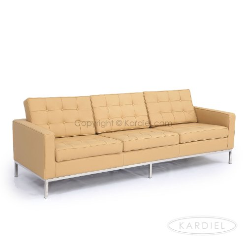 Kardiel Florence Knoll Style Sofa 3 Seat, Oxford Fawn Genuine Leather