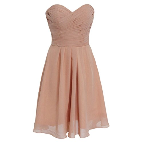Szmh Women'S Chiffon Knee Length Bridesmaid Dress For Wedding Party In Coral Size Us8