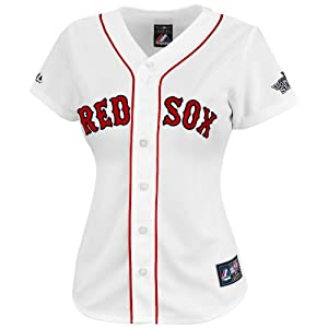 MLB Boston Red Sox Dustin Pedroia Ladies 15 World Series Patch Jersey by Majestic
