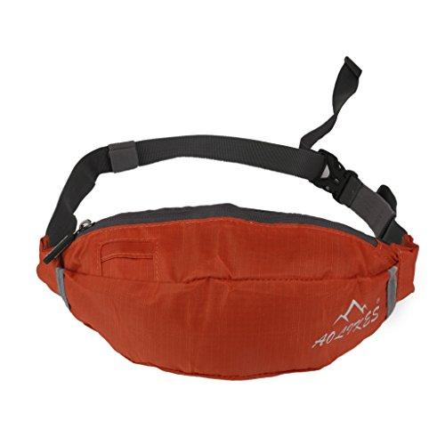 Oxford Hüfttaschen Stoff Fitness Taille Tasche Reißverschluss Beutel Gürtel Brieftasche Sport Reise (Orange)