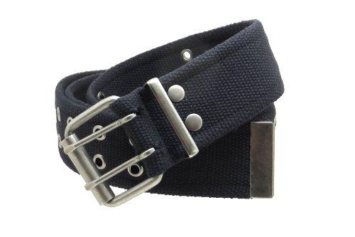 """Double Grommet Cargo Belt 1-3/4"""" Wide Heavy-Duty Cotton Gunmetal Buckle (Black-M)"""