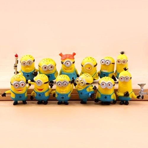 Set Of 12pcs Despicable Me 2 Cute Minions Movie Character Figures Doll Toy Gift Vivid Expressions Decorations Or Collections Brand New