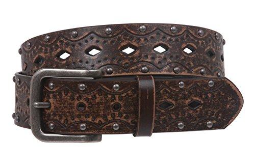 Snap on Studded Vintage Embossed Jean belt Size: L/XL - 40 Color: Brown