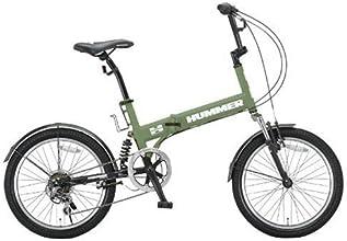 HUMMER(ハマー) 20インチシマノ6段変速折りたたみ自転車 [Wサスペンション/前後フェンダー/Vブレーキ/ボトルゲージ/リフレクター標準装備] マットグリーン HUMMER FDB206 W-sus