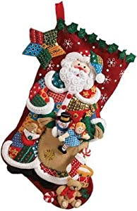 Bucilla 18-Inch Christmas Stocking Felt Applique Kit, Patchwork Santa