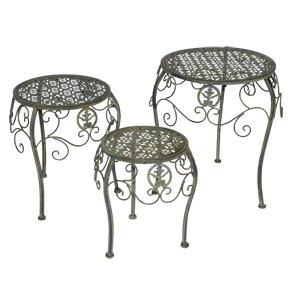 Blumenständer Metall Pflanzentisch Pflanzenständer Blumen Tisch rund von Lesli Living auf Gartenmöbel von Du und Dein Garten