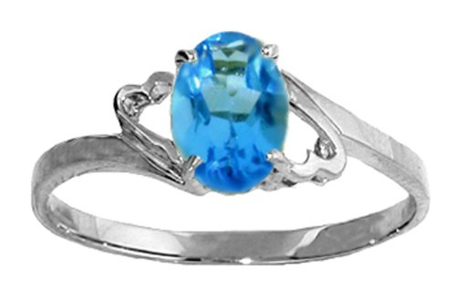 .925 Sterling Silver Promise Ring with Genuine Oval Blue Topaz
