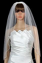 Bridal Wedding Veil Diamond (Off) White 1 Tier Fingertip Length Rhinestone Edge