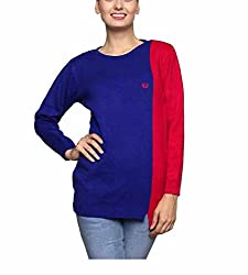 Leebonee Women's Acrylic Full Sleeve Dark Royal Blue Sweater
