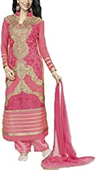 Vivacity Women's Faux Georgette Unstitched Dress Material (Fiona-5184_Pink_Free Size)
