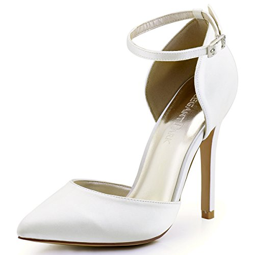 ElegantPark HC1602 Women's Pointed Toe High Heel Ankle Strap D'orsay Pumps Satin Wedding Dress Shoes Ivory US 8