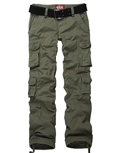 Match Ladies Juniors Boyish Petite Cargo Pants Outdoor Camping N' Hiking #2032(US size 4 (Label size L/29), Army green)