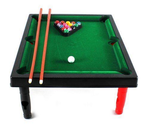 Mini Master World Champion Toy Billiard Pool Table Game w/ Table, Full Set of Billiard Balls, 2 Cues, Triangle by Velocity Toys günstig