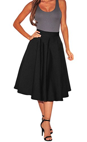 FQHOME Womens Black Flared A-Line Midi Skirt