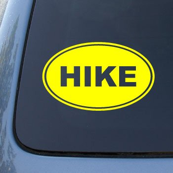 HIKE EURO OVAL - Hiking - Vinyl Car Decal Sticker #1715 | Vinyl Color: Yellow