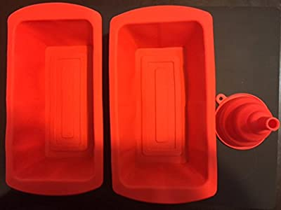 OG Silicone Bread Pan Loaf Pan (Set of 2) Plus Bonus Silicone Collapsible Funnel Foldable Funnel , Nonstick, and Dishwasher - Microwave Safe