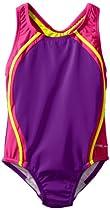 Speedo Girls 7-16 Sport Splice 1 Piece Swimsuit, New Purple Haze, 14