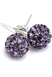 .925 Sterling Silver Purple Crystal Ball 8mm Stud Earrings