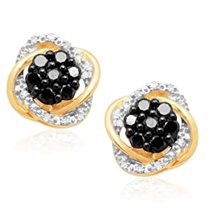 Click to buy Black Diamond Earring Stud: 10K Yellow Gold Black and White Diamond Earrings from Amazon!