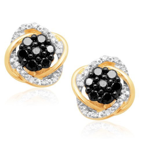 10K Yellow Gold Black and White Diamond Earrings