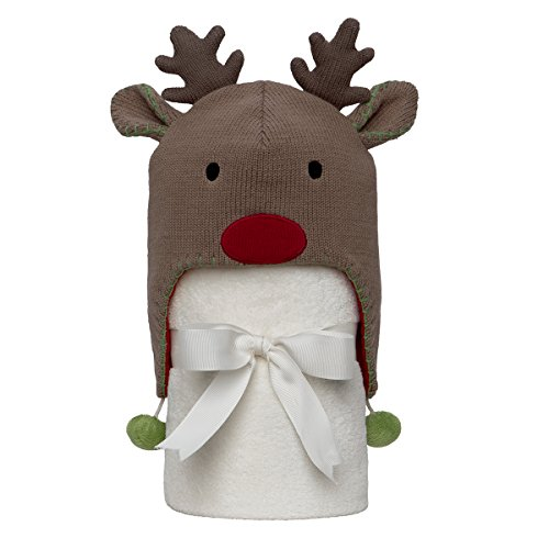 "Elegant Baby 100% Cotton, Giftable Reindeer Aviator Hat with Fleece Lining and Soft, Cream, 30x34"" Poly Fleece Stroller Blanket"