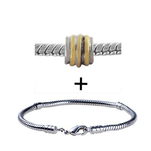 Gold Striped Circle Black Fashion Jewelry Bracelet Fits Pandora Charms