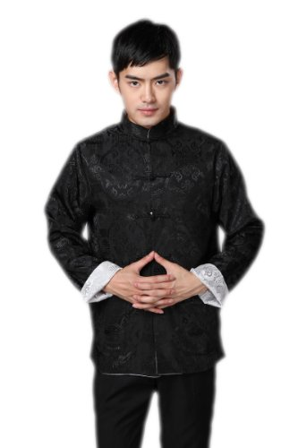 JTC Men's Tang Suit Chinese Kong Fu Top Tai Chi Two Side Can Be Worn Costume