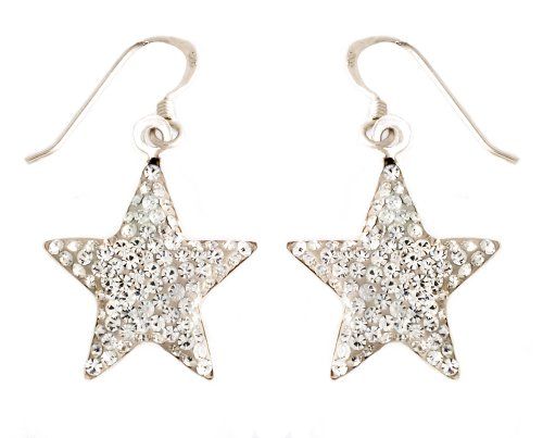 Silver White Crystal Star Drop Earrings
