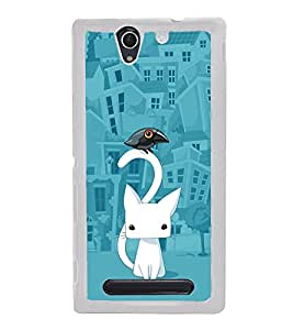 Cat Cartoon 2D Hard Polycarbonate Designer Back Case Cover for Sony Xperia C4 Dual :: Sony Xperia C4 Dual E5333 E5343 E5363
