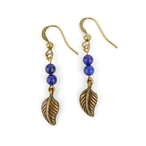 lapis-lazuli-blue-long-drop-leaf-earrings-in-antique-bronze-colour