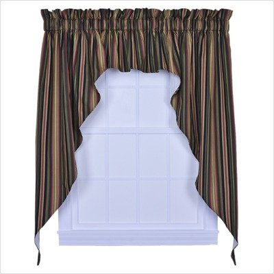 Ellis Curtain Montego Stripe 102-Inch by 36-Inch 3-Piece Lined Swag Curtain Set, Black