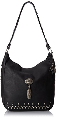 American West Dream Catcher Slouch Zip Top Shoulder Bag, Black, One Size