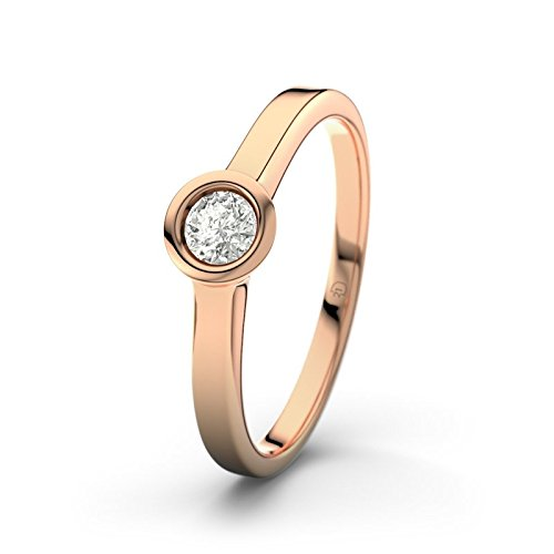 21DIAMONDS Women Ring/VS2 0.15 CT Brilliant Cut Diamond Engagement Ring 14ct Rose Gold Engagement Ring