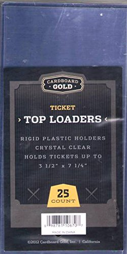 1x 25ct CBG 3 3/8 x 7 1/4 Cardboard Gold Ticket PRO Toploaders KEEPS Tickets and memorabilia ULTRA PROTECTED