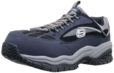 Skechers Mens 76893 Soft Stride Compo Work Shoe, Navy/Black, US 7.5 W