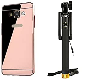 Novo Style Back Cover Case with Bumper Frame Case for Samsung Galaxy On7  + Wired Selfie Stick No Battery Charging Premium Sturdy Design Best Pocket Sized Selfie Stick