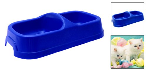 Rectangle Blue Plastic Pet Cat Water Food Feeder Bowl front-533436