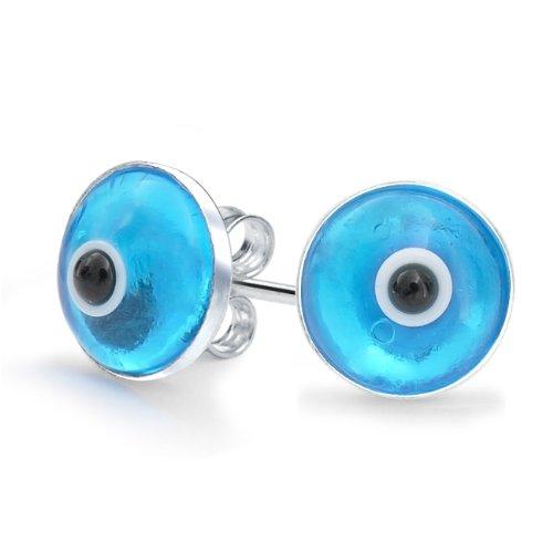 Bling Jewelry Sterling Silver Blue Evil Eye Stud Earrings