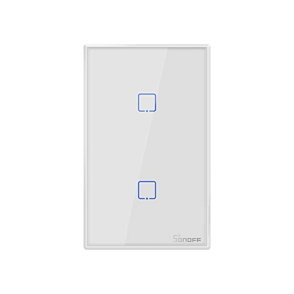Sonoff TX T2 Smart Light Switch Wi-Fi Wall Switch, Compatible with Alexa and Google Home, Fit for US&CA Wall Switches, Remote Control with Timing Function, No Hub Needed (2 Gang) (Color: T2-White, Tamaño: 2 Gang)