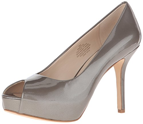 Nine West Women's Qtpie Patent Platform Pump, Taupe Pearlized, 8 M US